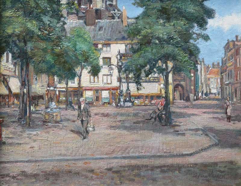 Stadsgezicht Nijmegen, olieverf op linnen bevestigd op paneel, afmeting 24x30cm paneelmaat