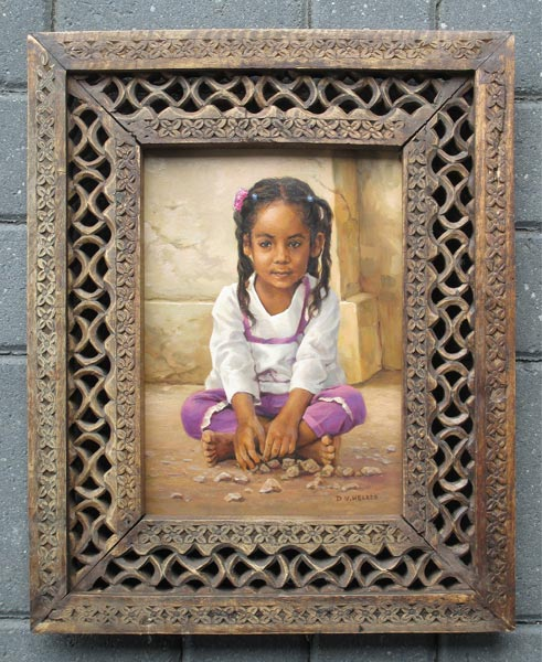 Girl in the Congo, size including handmade frame of Oman 38x46cm