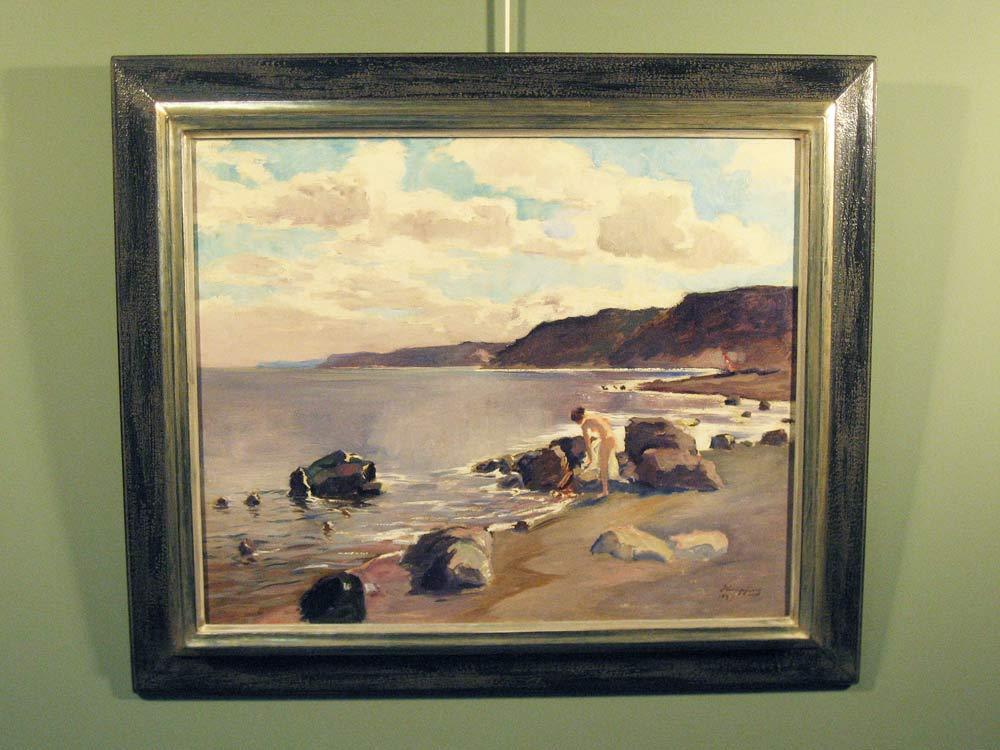 Strandgezicht met badende vrouw, olieverf op linnen, afmeting incl. lijst 75x86cm