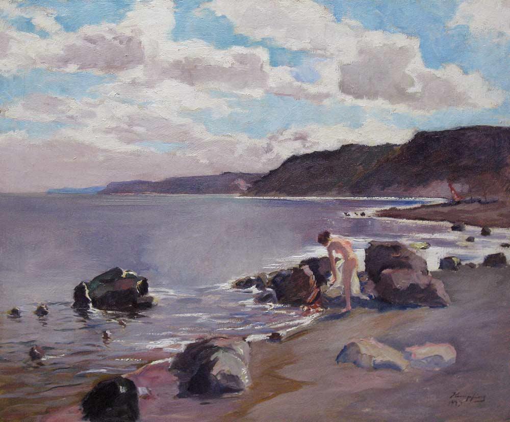 Strandgezicht met badende vrouw, olieverf op linnen, afmeting 55x65cm doekmaat