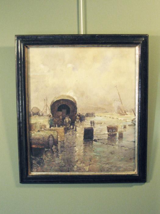 Havenkade, aquarel op papier, afmeting inclusief lijst e museumglas 53x61cm