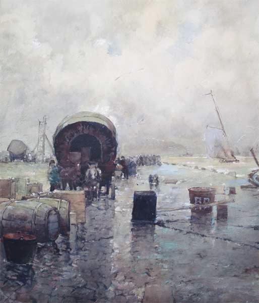 Havenkade, aquarel op papier, afmeting 43x51cm beeldmaat