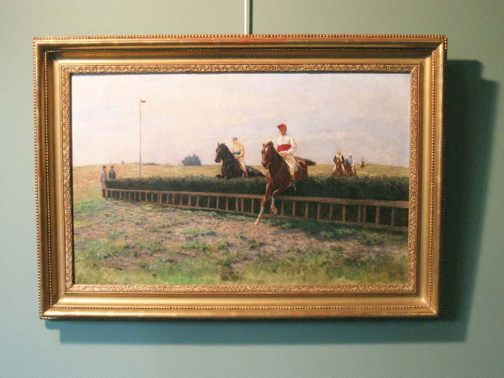 Paarderennen, olieverf op linnen, afmeting inclusief lijst 60x85cm