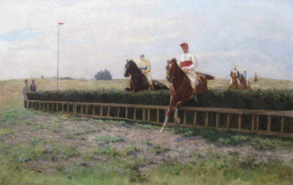 Paarderennen, olieverf op linnen, afmeting 46x71cm doekmaat