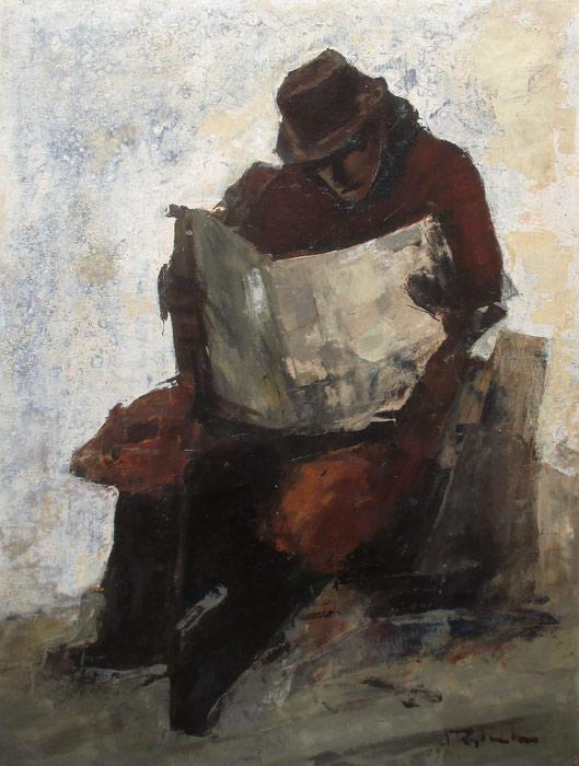 Krantlezer, olieverf op linnen, afmeting 60x80cm doekmaat