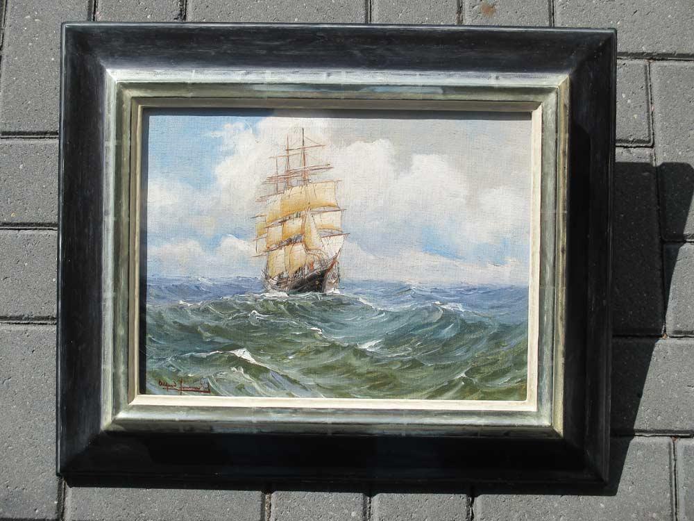 Driemaster op volle zee, olieverf op linnen, afmeting inclusief bladgouden lijst 50x60cm