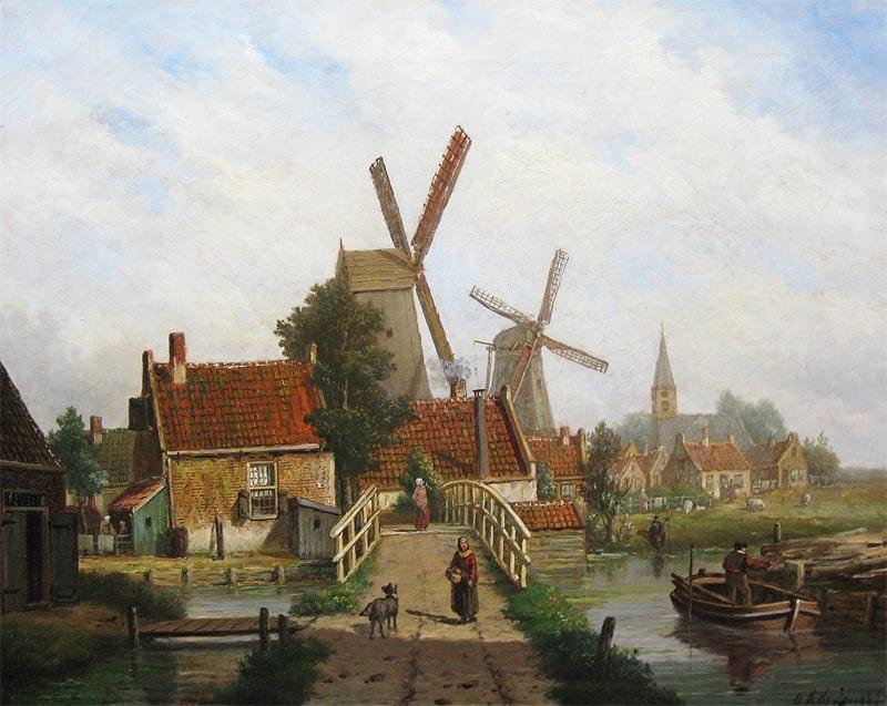 Oene Romkes de Jongh werd op 6 april 1812 in Makkum geboren. Hij overleed op 1 juli 1896 te Amsterdam. Hij woonde en werkte in Amsterdam tot 1884 en in Nieuwer-Amstel tot 1896. Oene Romkes de Jongh schilderde vooral stadsgezichten, waaronder die van Amsterdam en de Zuiderzeehavens. Bekend zijn, zijn winterse stadsgezichten. Daarnaast schilderde hij een enkel landschap, veelal met een boerderij aan een vaart.    Is geïnspireerd geweest door Adriaan Evertsen en Cornelis Springer en nam veelvuldig deel aan tentoonstellingen in o.a. Amsterdam (1862, 1868, 1871, 1876 en 1877) en Groningen (1874 en 1877).