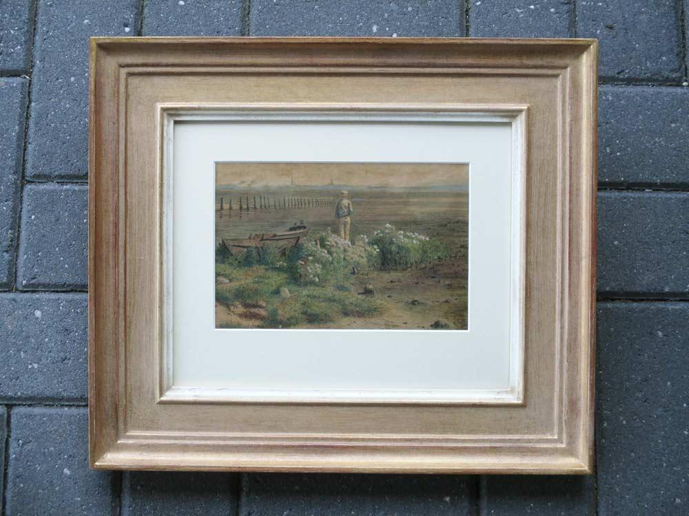 Landschap, aquarel op papier, afmeting inclusief lijst 27x34cm