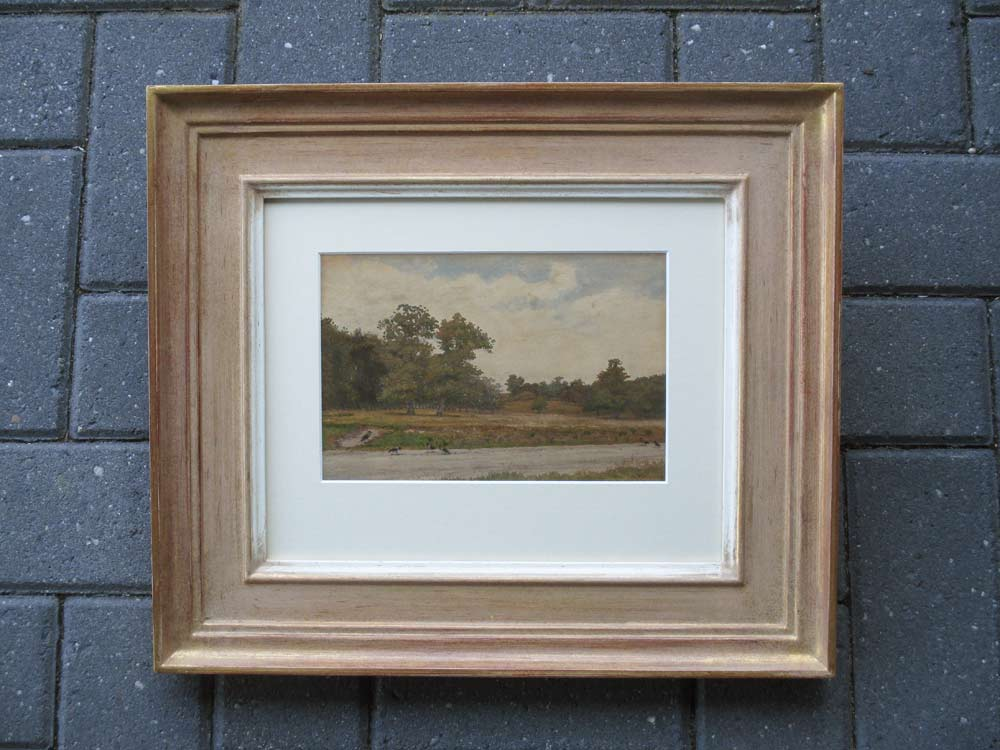 Landscape with crows, size including frame 27x34cm