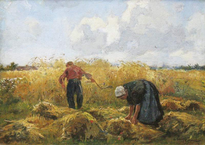 """Cornelis Koppenol, geboren Zoetermeer 26 december 1865, overleden Den Haag 1946. Leerling van de Akademie v. B.K. te Den Haag (ruim 6 jaar). Hij woonde en werkte te Den Haag, Delft, Rijswijk en Nunspeet. In zijn jonge jaren werkte hij bij """"De Porceleyne Fles"""" te Delft. C. Koppenol schilderde, aquarelleerde, tekende, etste en lithografeerde portretten, stillevens, strandgezichten met figuren, koeien- en schapenmarkten, landschappen met landarbeiders, boereninterieurs en boerenvrouwen, ook schilderde hij oude gebouwen. Hij gaf les aan de Akademie v. B.K. te Den Haag. Werken in bezit van het Haags Gemeentemuseum en Rijksmuseum Kroller-Muller te Otterlo."""