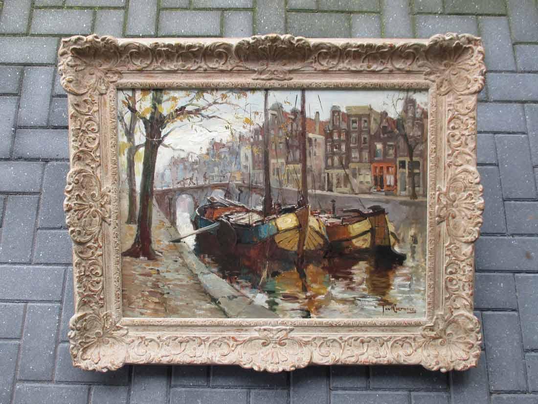 Gezicht op de Prinsengracht te Amsterdam, olieverf op linnen, afmeting incl. lijst 84x104cm
