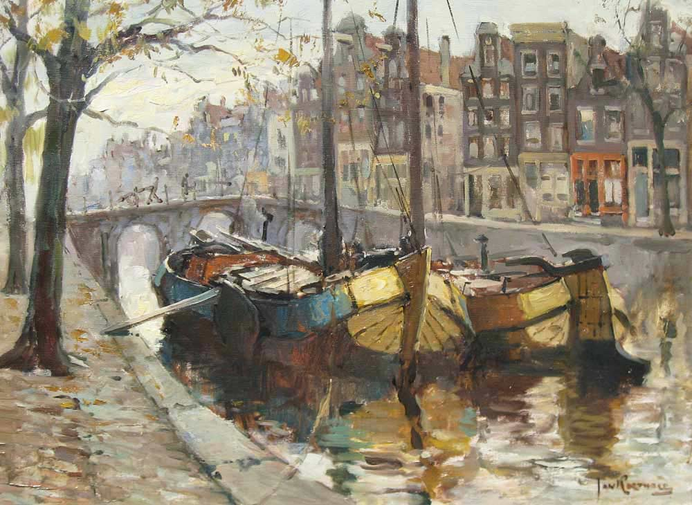 Cityview Amsterdam, oil on canvas, size 60x80cm.