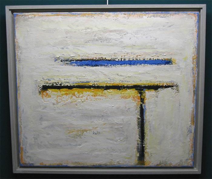 """Lassche, Henk Lassche. """"Deze schilder van het Hollandse landschap heeft, staand in de romantische traditie van de Noord-Europese schilderkunst, in de loop der jaren een geheel eigen beeldtaal ontwikkeld.  Het gaat bij hem niet om een """"letterlijke"""" weergave van dat landschap met zijn weidse vergezichten en hoge luchten, maar om een persoonlijke verwerking hiervan.   De synthese van een expressionistische en informele benadering van zijn onderwerpen leidt bij hem tot abstracties, die mede ontstaan als gevolg van een uiterst intensieve werkwijze. Door laag op laag te zetten, door wegschrapen en bijwerken, ontstaan er schilderijen in olieverf, die telkens weer bij de aandachtige beschouwer nieuwe en verrassende beelden oproepen.   Het zijn werken die – hoe klein van formaat soms ook – de monumentaliteit van de door hem op zo eigen wijze verwerkte onderwerpen overtuigend en indrukwekkend laten zien""""."""