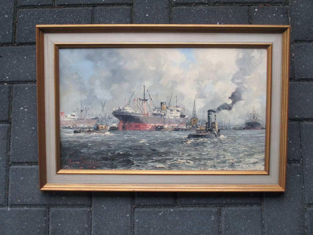 Havengezicht Rotterdam, olieverf op linnen, afmeting inclusief lijst 42x62cm