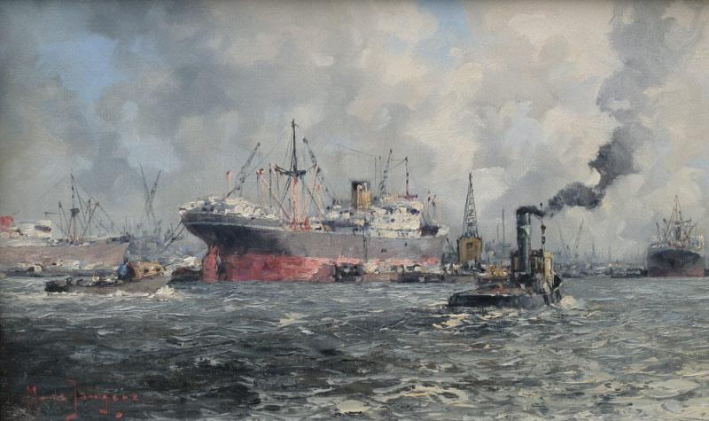 Havengezicht Rotterdam, olieverf op linnen, afmeting 30x50cm doekmaat
