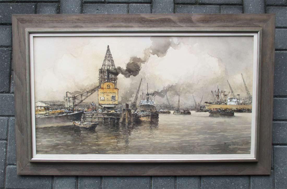 Havengezicht Rotterdam, aquarel op papier, afmeting inclusief lijst en museumglas 68x108 cm