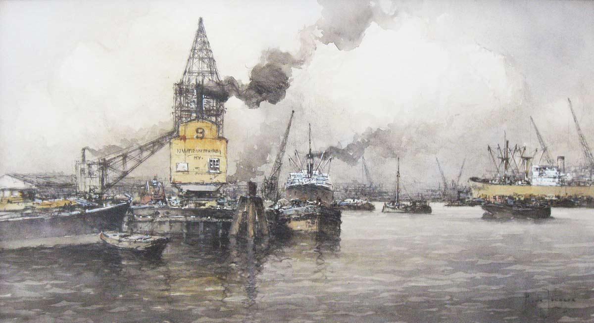 Havengezicht Rotterdam, aquarel op papier, afmeting 50x90cm beeldmaat