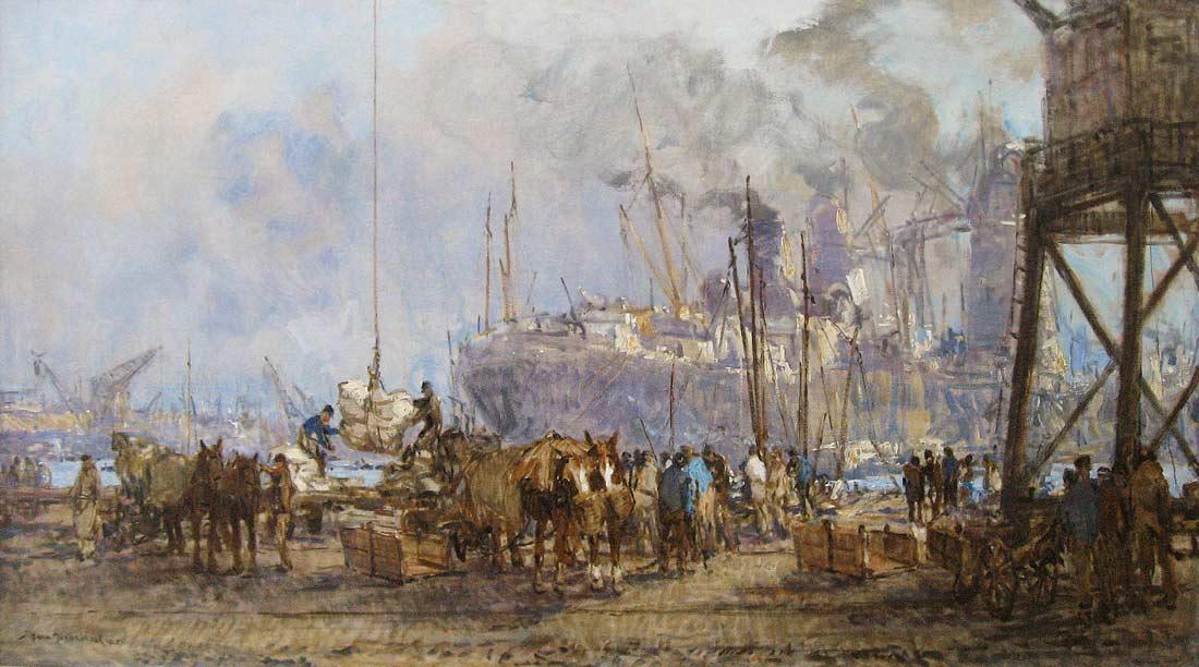 Johan Hendrik van Mastenbroek werd in 1875 in Rotterdam geboren. Hier overleed hij ook in 1945. Hij woonde en werkte in Rotterdam, Brugge, Parijs, Londen, Den Haag en vervolgens weer in Rotterdam. Hij vormde zich zelf en kreeg daarnaast tekenlessen van  A.H.R. van Maasdijk. Hij was een belangrijke schilder van de Rotterdamse haven, de Maas en de Zuiderzeewerken.    Mastenbroek schilderde, aquarelleerde tekende en etste riviergezichten, havens, stadsgezichten en een enkel winters landschap. Zijn werk documenteert de grote technische vooruitgang en de snel toenemende bedrijvigheid in de Rotterdamse haven na 1900. Van Mastenbroek schetste graag buiten bij regenachtig weer aan de schoonheid van de luchten en de heldere kleuren.  'Ik kon staan smullen van de heerlijke wolkenformaties en den aan kleuren zo rijken stijl tusschen zon en wolken' schreef hij hierover in 1945. Hij oogstte in brede kring veel succes met zijn werk.   Hij gaf raadgevingen aan J.P. Molenaar en H. van Randwijk. Van Mastenbroek behaalde vele onderscheidingen met zijn werk. Werk van Van Mastenbroek is o.a. opgenomen in de collecties van het Rijksmuseum te Amsterdam, het Rijksmuseum Van Bilderbeek, het Haags gemeentemuseum, het Rijksmuseum HW Mesdag, het gemeentemuseum Harlingen, en het Museum Boymans-van Beuningen te Rotterdam.