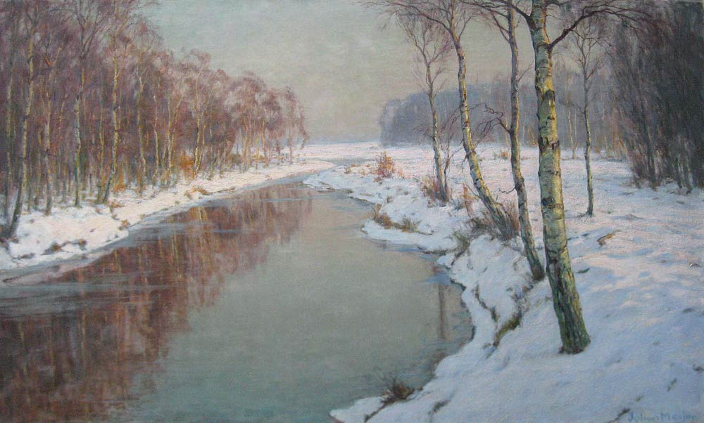 Winterlandscape, Meijer, J. Meijer, Johan Meijer was born in Amsterdam 1885 and he died in Blaricum in 1970.