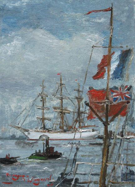 Havengezicht met vlaggen, olieverf op paneel, afmeting 12x16,5cm paneelmaat