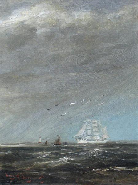 Schepen op volle zee, olieverf op paneel, afmeting 12x16cm paneelmaat