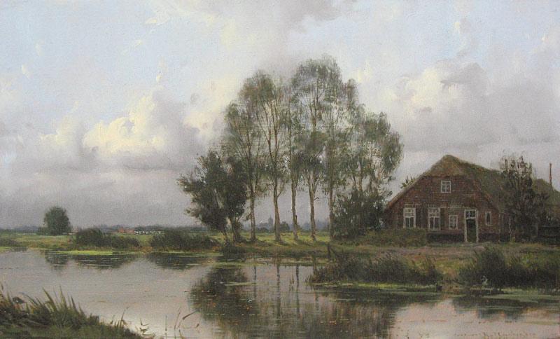 Landschap, olieverf op linnen, afmeting 30x50cm doekmaat