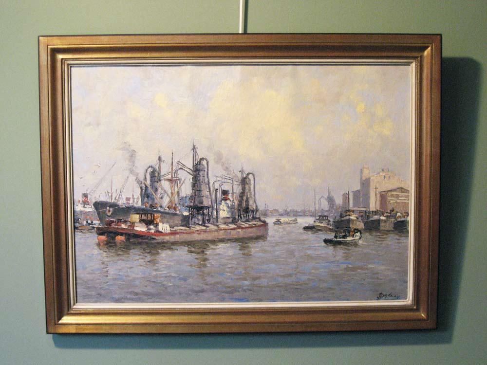 Havengezicht Rotterdam, olieverf op linnen, afmeting inclusief lijst 65x85cm