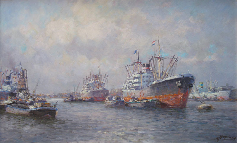 Molenaar, J.P. Molenaar, Johannes Petrus Molenaar, Joop Molenaar was born in 1904 in rotterdamand he died in 1990 also in Rotterdam. he was a painter of harbour views.