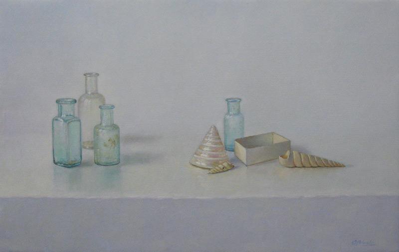 Flesjes en schelpen, olieverf op linnen, afmeting 30x50cm doekmaat