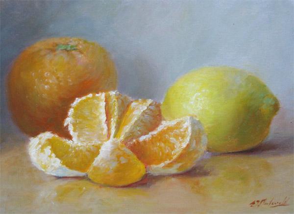 citroen en sinaasappel, olieverf op paneel, afmeting 13x18cm paneelmaat