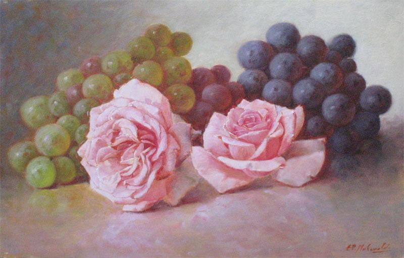 Druiven met rozen, olieverf op paneel, afmeting 19x30cm paneelmaat