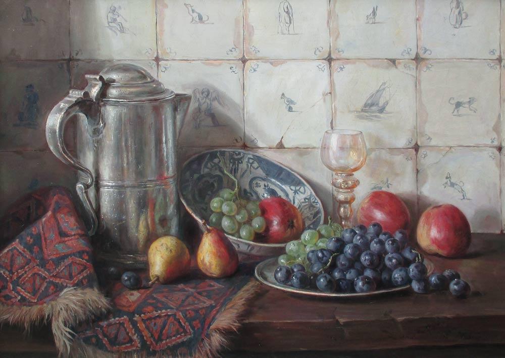 Stilleven met fruit, olieverf op linnen, afmeting 50x70cm doekmaat