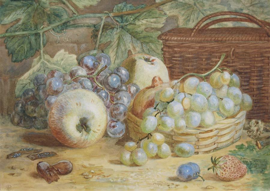 fruitstilleven, aquarel op papier, gemonogrammeerd met A.P. 19e eeuw