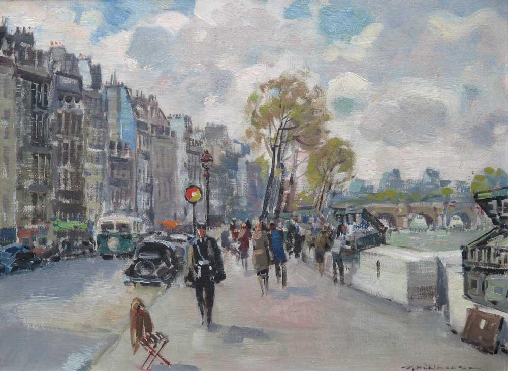 """Stadsgezicht Parijs, Muhlhaus, Daniel 'Daan' Mühlhaus werd op 21 februari 1907 te Dordrecht geboren. Hij werd lid van het Dordrechtse schildersgenootschap """"Pictura"""" waar hij zijn opleiding kreeg, verder was Daan Mühlhaus autodidact. In zijn latere leven had hij een leidende funktie in het schildersgenootschap """"Pictura"""". Hij woonde en werkte zijn hele leven in Dordrecht. Schilderde, aquarelleerde en tekende stadsgezichten, landschappen, bloemen en portretten. Hij was ook lid van """"St. Lucas"""" te Amsterdam en van de Federatie van Beeldende Kunstenaars."""