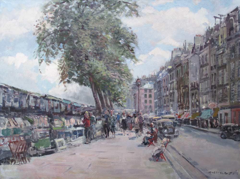 """Muhlhaus, Daniel 'Daan' Mühlhaus werd op 21 februari 1907 te Dordrecht geboren. Hij werd lid van het Dordrechtse schildersgenootschap """"Pictura"""" waar hij zijn opleiding kreeg, verder was Daan Mühlhaus autodidact. In zijn latere leven had hij een leidende funktie in het schildersgenootschap """"Pictura"""". Hij woonde en werkte zijn hele leven in Dordrecht. Schilderde, aquarelleerde en tekende stadsgezichten, landschappen, bloemen en portretten. Hij was ook lid van """"St. Lucas"""" te Amsterdam en van de Federatie van Beeldende Kunstenaars."""