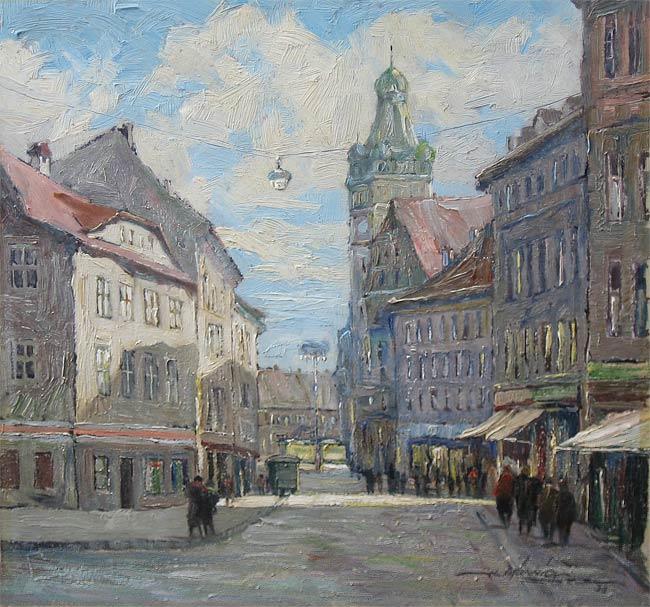 Munnich, Heinz Munnich is geboren in 1921 te Chemnitz en overleden in 1977 te Starnberg. Hij schilderde landschappen, stillevens, maar vooral stadsgezichten in pasteltinten. Hij heeft gestudeerd aan de Kunstakademie te Dresden en de Kunstakademie in Luxemburg.