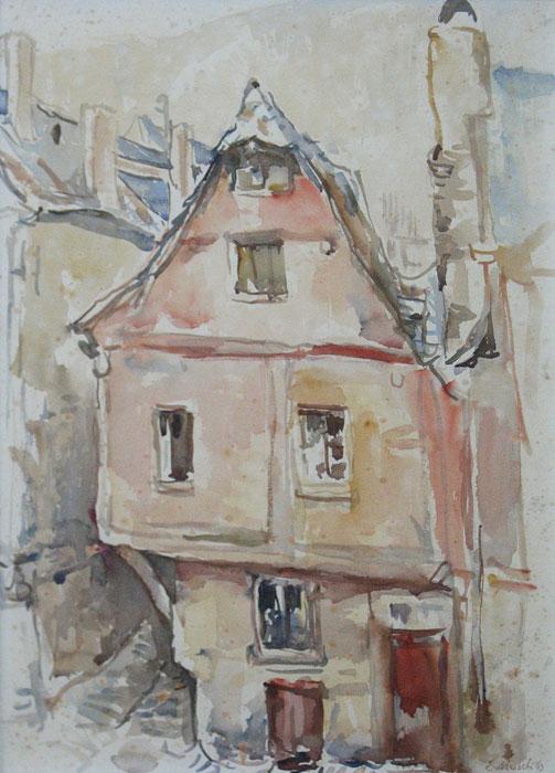 """Zell an der Mosel, Musch, Evert Musch  Groningen 16.03.1918 - 2007     Toen men na de Tweede Wereldoorlog  met betrekking tot de landinrichting uitging van het idee om stroompjes en beekjes te kanaliseren, dreigde ook de Drentse Aa hieraan niet te ontkomen.  De stroom die eeuwenlang zijn weg door het dal had gevolgd, zou verworden tot een rechtlijnig kanaal.  Hevig geschrokken door dit bericht greep Evert Musch naar zijn penselen en schilderde in een breed panorama het landschap tussen Schipborg en Oudemolen, waardoor de rivier hevig meanderend zijn weg zocht en exposeerde dat rond 1950. Het was een protest tegen aantasting van een landschap waardoor hij, Groninger van huis uit, in hoge mate werd geïnspireerd.  In 1985 ging Musch, samen met andere Drentse kunstenaars, opnieuw op de barricaden staan voor het behoud van een waardevol landschap.  Het militaire gebied in de Schipborger Strubben zou platgewalst worden om zodoende beter tot oefenterrein te kunnen dienen.  Daarmee zouden vele grafheuvels,  standplaatsen van hunebedden en sporen van oude wegen verdwijnen.  Exposities van schilderijen en tekeningen van dit gebied, evenals andere manieren om de aandacht hierop te vestigen, hebben er misschien toch aan bijgedragen dat het plan niet doorging.  Heeft kunst invloed op politieke besluitvorming?  In ieder geval werden Strubben en bos gespaard en stroomt de Aa als vanouds door het Drentse land.  Na de HBS liet Evert Musch zich in 1936 inschrijven aan de Gemeentelijke Kunstnijverheidsschool, die later Academie Minerva zou gaan heten.  De aanpak van het kunstonderwijs was niet veel anders dan in de tijd van F.H.Bach.  Er werd veel naar de natuur gewerkt.  De leraren A.W.Kort en C.P. de Wit van wie Musch les kreeg, hielden zich verre van het expressionisme, dat door """"De Ploeg"""" zo enthousiast in huis was gehaald.  Breed, klassiek, grondig en ambachtelijk zijn begrippen die Musch nog altijd te binnen schiet als hij terugkijkt op zijn tijd aan de Minerva die hij in dankba"""