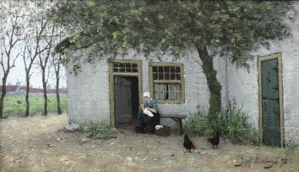 Utrecht 1841-1889 Warmond. Jozef Neuhuys is vooral bekend geworden als schilder van landschappen, stadsgezichten, stillevens en van boereninterieurs, een genre dat vooral na 1880 in ons land zeer populair werd. Hij werd opgeleid aan de Tekenacademie in Antwerpen en was een leerling van zijn broer, de Larense School-schilder Albert Neuhuys. Hij woonde en werkte onder meer in Antwerpen, Amsterdam, Den Haag en Rotterdam. Steeds werd hij door de aanblik van zijn woonplaats en haar landelijke omgeving geïnspireerd tot het schilderen van impressionistische stads- en natuurtaferelen. Musea: o.a. Rijksmuseum en Stedelijk Museum, Amsterdam; Singer museum, Laren; Gemeentemuseum, Den Haag