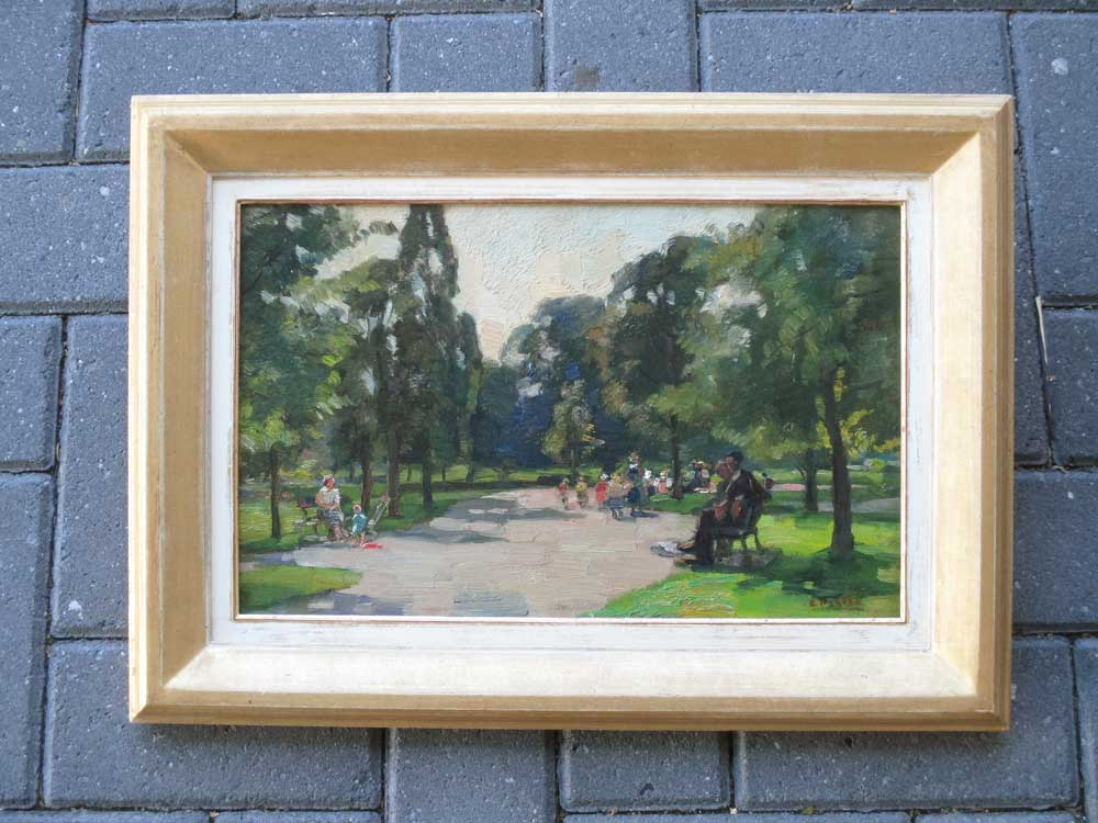 Playing kids, size including frame 37x53cm