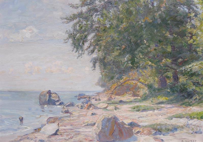 Strandgezicht, olieverf op linnen, afmeting 50x70cm doekmaat