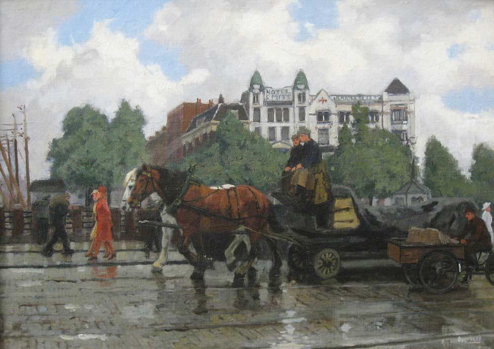 Stadsgezicht Rotterdam, Hotel Smits aan de kade, Overbeek, G. J. van Overbeek 1882-1947   Hoewel deze oorspronkelijk uit Dordt afkomstige Rotterdammer schilderde in  naturalistisch-impressionistische stijl, liet hij zich niet graag in een categorie  plaatsen, getuige zijn lidmaatschap van de Amsterdamse kunstenaarsgroep 'De  Onafhankelijken'. Hij legde zich toe op het schilderen en tekenen van  landschappen, dieren en stadsgezichten, waarbij stoere beelden van  werkpaarden en de Rotterdamse haven een belangrijke inspiratiebron vormden.