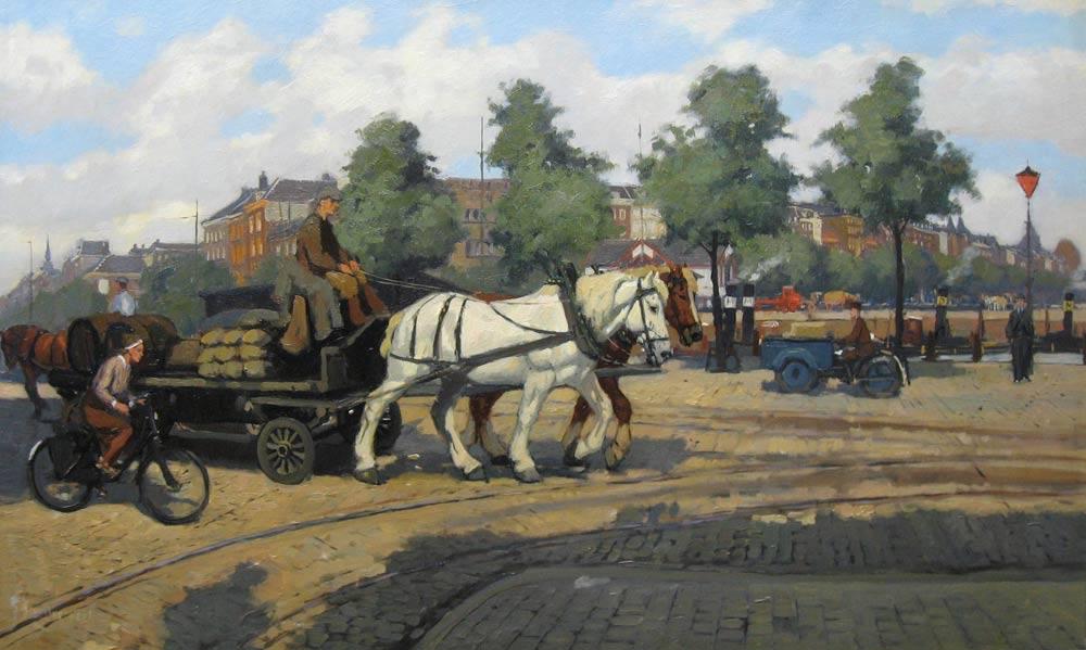 Gezicht op de kade in Rotterdam, Overbeek, G. J. van Overbeek 1882-1947   Hoewel deze oorspronkelijk uit Dordt afkomstige Rotterdammer schilderde in  naturalistisch-impressionistische stijl, liet hij zich niet graag in een categorie  plaatsen, getuige zijn lidmaatschap van de Amsterdamse kunstenaarsgroep 'De  Onafhankelijken'. Hij legde zich toe op het schilderen en tekenen van  landschappen, dieren en stadsgezichten, waarbij stoere beelden van  werkpaarden en de Rotterdamse haven een belangrijke inspiratiebron vormden.