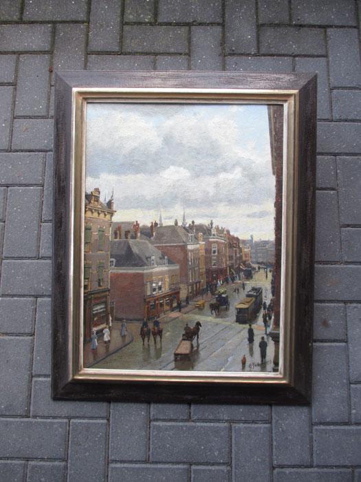 Cityview Kruiskade Rotterdam, size including frame 70x87cm
