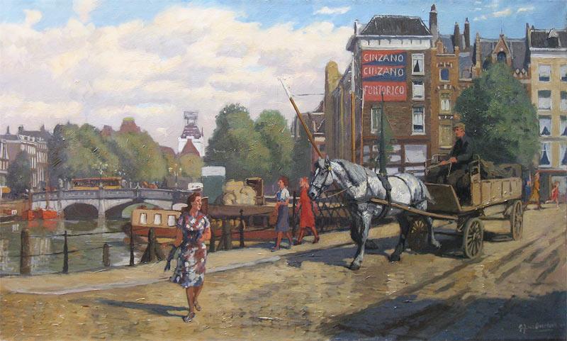 Gezicht op de wijnbrug in 1940 in Rotterdam, Overbeek, G. J. van Overbeek 1882-1947   Hoewel deze oorspronkelijk uit Dordt afkomstige Rotterdammer schilderde in  naturalistisch-impressionistische stijl, liet hij zich niet graag in een categorie  plaatsen, getuige zijn lidmaatschap van de Amsterdamse kunstenaarsgroep 'De  Onafhankelijken'. Hij legde zich toe op het schilderen en tekenen van  landschappen, dieren en stadsgezichten, waarbij stoere beelden van  werkpaarden en de Rotterdamse haven een belangrijke inspiratiebron vormden.
