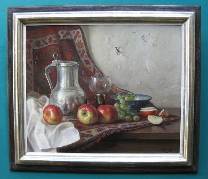 Moleveld, Pieter Moleveld is is geboren op 1 september 1919 te te Voorburg en overleden op 11 juli 1976 te Den haag. Woonde en werkte in Voorburg, Rijswijk (Z.H.) en sinds 1938 in Den Haag. Leerling van P.J. van Boxtel. Schilderde in natuurrealistisch-romantische stijl stillevens, portretten en landschappen. Kreeg in 1956 polio (werd aan beide armen verlamd) en had de moed zich om te schakelen tot één van de beste voetschilders van Nederland. Ontving de Grand Prix Minnesota en 1e prijs, zilveren kom, Minnesota (U.S.A.). Hij was lid van de Vereniging van mond en voetschilders.