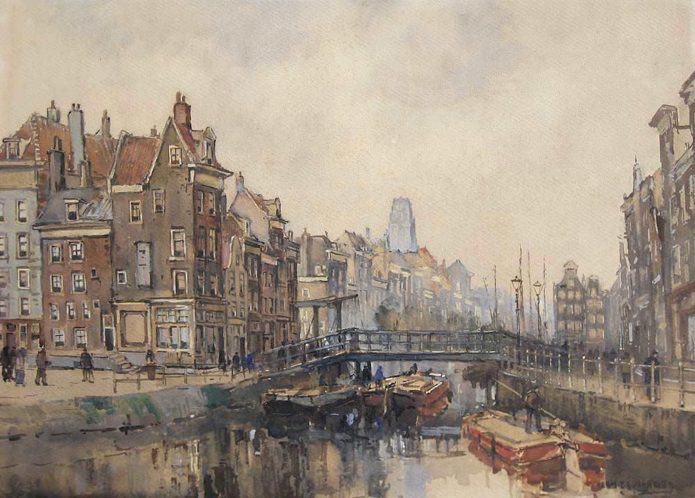 Herman Paradies is geboren te Rotterdam  in 1883 en overleden te Schiedam in  1966. De impressionist Herman Paradies schilderde in de eerste tientallen jaren van  twintigste eeuw topografische stadsgezichten van Amsterdam en Rotterdam.  Vooral zijn impressies van het vooroorlogse Rotterdam documenteren de vele  haventjes, vaarten, grachtjes en bruggen die de stad rijk was. Na zijn verhuizing in  1940 naar Schiedam koos de schilder vooral oude gedeelten van deze stad als  onderwerp voor zijn schilderijen. In 1992 organiseerde het Stedelijk Museum  Schiedam een tentoonstelling van zijn werk.