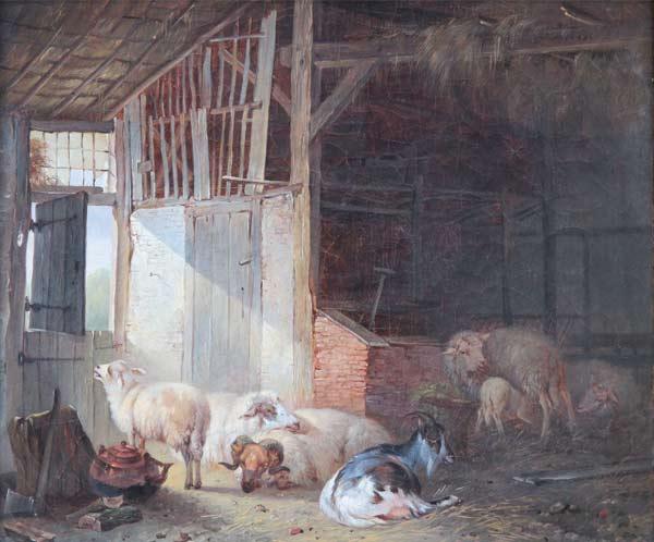 Pieter Plas Alkmaar 1810-1853 Studie van schapenkoppen, olieverf op doek  Pieter Plas kwam uit een bekende Alkmaarse kunstenaarsfamilie. Zijn vader en eerste leermeester was de rijtuig- en landschapschilder Louwerencius Plas (1776-1847). Ook de schilder zelf was tot zijn 24ste jaar rijtuigschilder. Na een tweetal leerjaren in Hilversum bij Willem Bodeman en bij de dierenschilder Jan van Ravenswaay specialiseerde hij zich in het schilderen van landschappen met vee. Het vlakke Noord-Hollandse landschap was daarbij dikwijls zijn inspiratiebron. Pieter Plas had verschillende leerlingen en was directeur van het Tekengezelschap 'Kunst zij ons doel' in Alkmaar. Musea: Museum Willet-Holthuysen in Amsterdam en het Teylers Museum in Haarlem.
