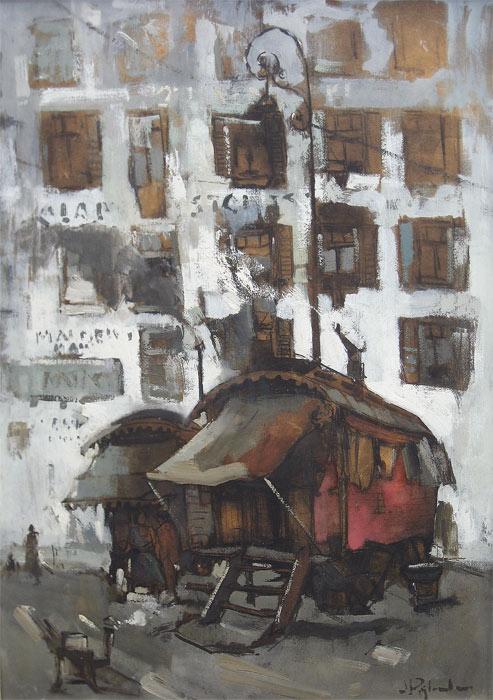 Collectie, Jan Rijlaarsdam, woonwagens, gemengde techniek , afmeting 50x70cm beeldmaat