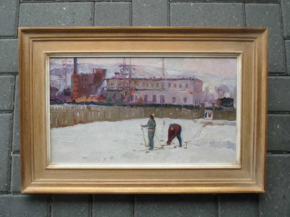 Wintergezicht, olieverf op paneel, afmeting 28x47cm paneelmaat, afmeting inclusief lijst 44x63cm