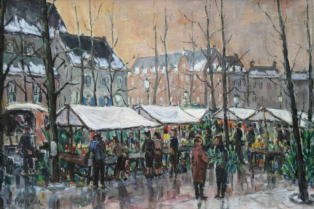 Frans Ruwel 1912-1987  Fransiscus Lodewijk Ruwel werd in 1912 geboren te Amsterdam en overleed in 1987 te De Bilt.  Frans Ruwel volgde zijn schilder en tekenopleiding aan de Academie Artibus bij Henk Bellaard en hij volgde een opleiding tot tekenleraar aan het Rijksmuseum te Amsterdam. Frans Ruwel tekende en schilderde landschappen en stadsgezichten in een heel eigen impressionistische stijl. Met zijn leraar en goede vriend Henk Bellaard maakte hij veel buitenstudies en schilderde samen stillevens in zijn atelier. Frans Ruwel werd door een ongeval gedwongen om met vervroegd pensioen gegaan. Sinds die tijd wijdde hij zich volledig op de teken- en schilderkunst.   Onderwerpen koos hij in die tijd in binnen- en buitenland.  Werk van Frans Ruwel vind je in vele nationale en internationale collecties van instellingen, bedrijven en particulieren. In 1977 wijdde de gemeente Woerden een tentoonstelling aan o.a. het werk van Frans Ruwel.